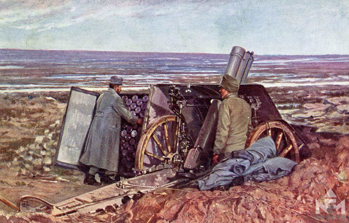 Csata előtt. Képeslap a Nádasdy Ferenc Múzeum gyűjteményéből (ltsz. NFMHD 66.47.623)