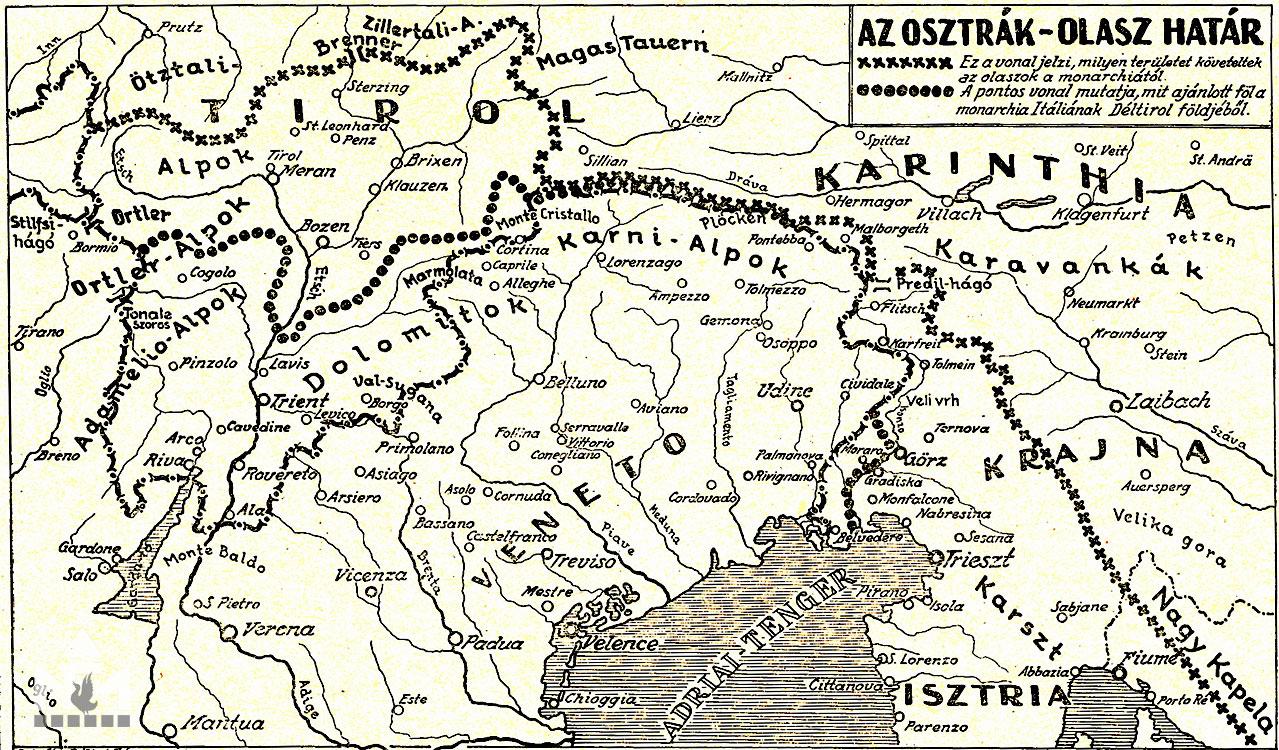 A hadszíntér. Forrás: Tolnai A Világháború története 1914-1918. VI. kötet