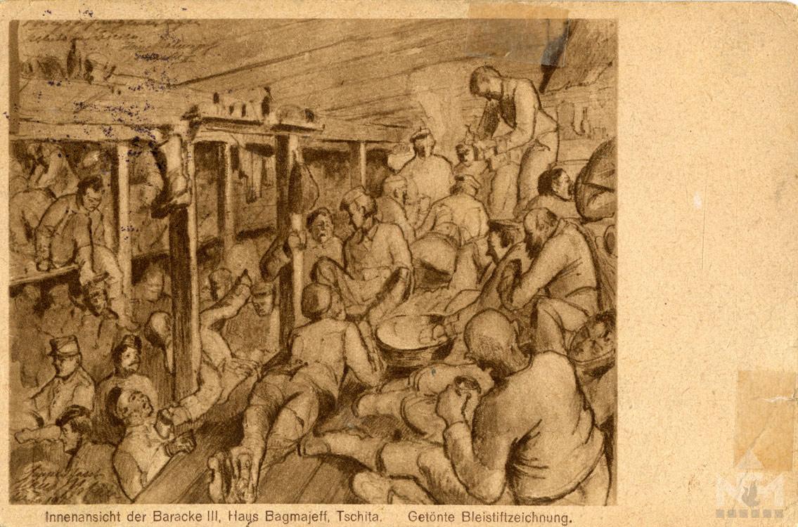 Orosz hadifogolytábor. Képeslap a sárvári múzeum gyűjteményéből (ltsz. NFM HD 66.47.128)